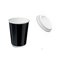 12oz X (500) LIDS + Disposable Black Double Wall Paper cups