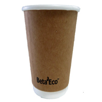 16oz X (500) Disposable Brown Eco Double Wall Paper cups