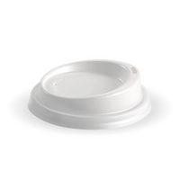 WHITE BioPak 80mm PS TRAVEL Lid for BioCup x1000