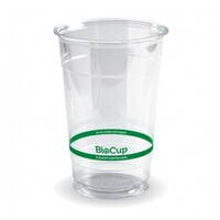 BioPak 600ml CLEAR Green Stripe Cold BioCup x100