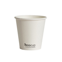 EcoCup 4oz Single Wall White PLA Coffee Cup x100