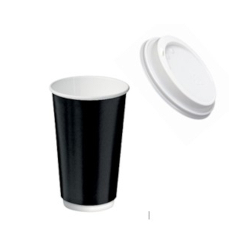 16oz X (500) LIDS + Disposable Black Double Wall Paper cups